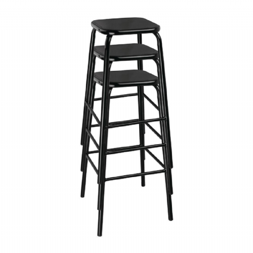 Bolero Black High Stool with Metal Seatpad (Pack of 4) - DE483